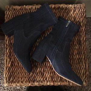 "Franco Sarto blue denim ankle booties w/2"" heels"